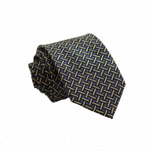 Μεταξωτή Γραβάτα με Μπλε/ Μαύρο/ Κίτρινο Μοτίβο 7.5εκ.