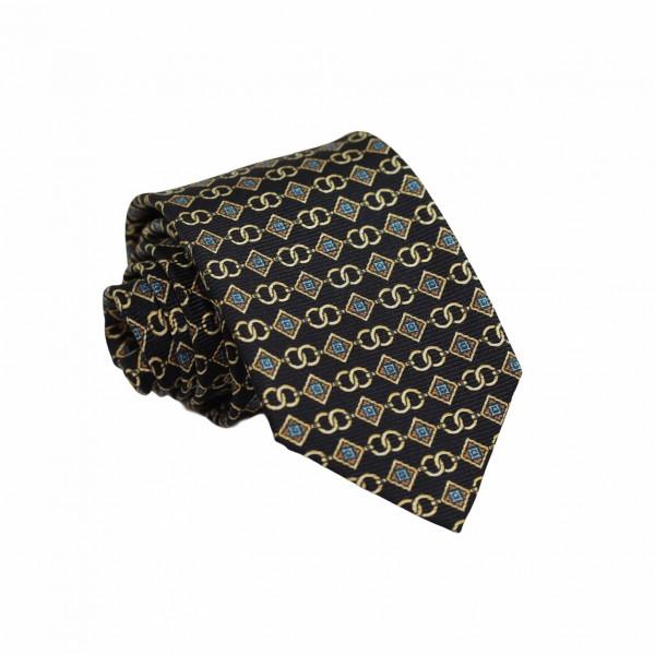 Μεταξωτή Γραβάτα Μαύρη με Μοτίβο 7.5εκ. Γραβάτες