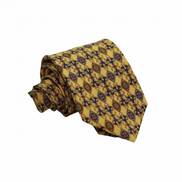 Μεταξωτή Γραβάτα Κίτρινη / Μπλε με Μοτίβο Blazer 7.5εκ. Γραβάτες