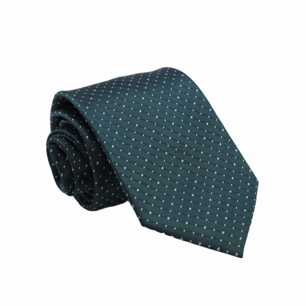 Μεταξωτή Γραβάτα Deep Green SkyBlue Dots 8.5εκ. Γραβάτες