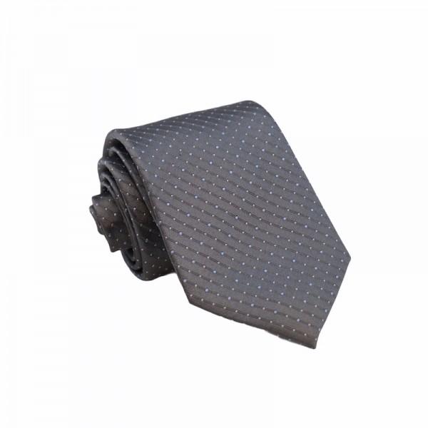 Μεταξωτή Γραβάτα Grey SkyBlue Dots 8.5εκ. Γραβάτες