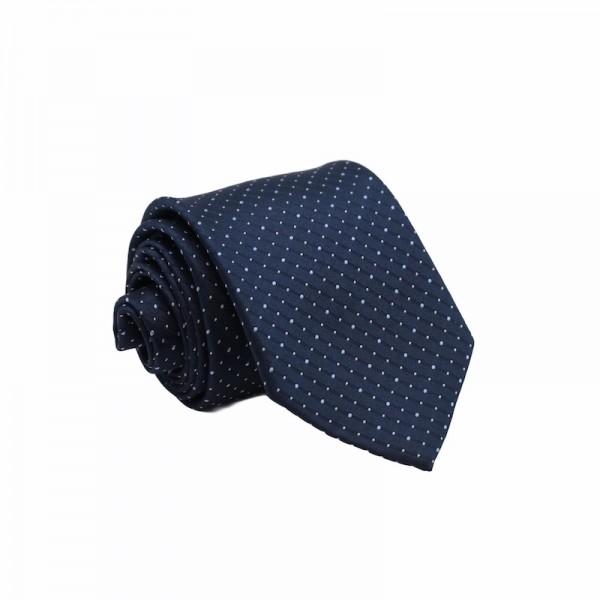 Μεταξωτή Γραβάτα Navy SkyBlue Dots 8.5εκ. Γραβάτες