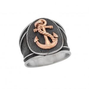Δαχτυλίδι από Ασήμι 925° Άγκυρα Circular Ροζ