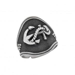 Δαχτυλίδι από Ασήμι 925° Άγκυρα Oxidized Matte