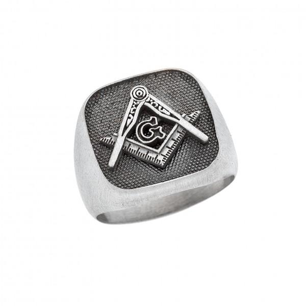 Δαχτυλίδι από Ασήμι 925° Γνώμων και Διαβήτης Ματ Ασημένια Δαχτυλίδια