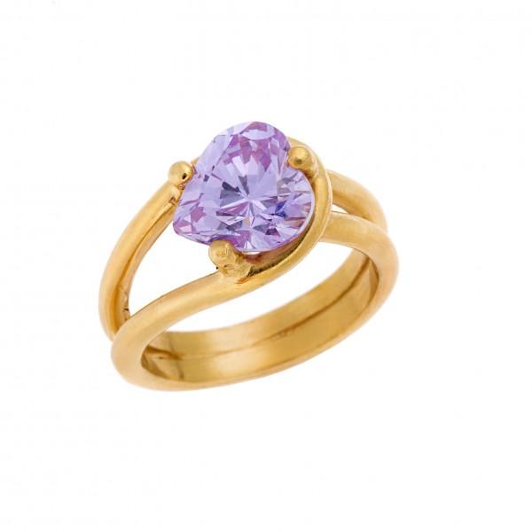 Δαχτυλίδι από Ασήμι 925° Καρδιά Επιχρυσωμένη με Ζιργκόν Μωβ  Ασημένια Δαχτυλίδια