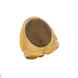 Δαχτυλίδι από Ασήμι 925° Επιχρυσωμένο Μάτι της Τίγρης