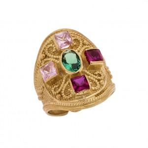 Δαχτυλίδι από Ασήμι 925° Επιχρυσωμένο με Ζιργκόν