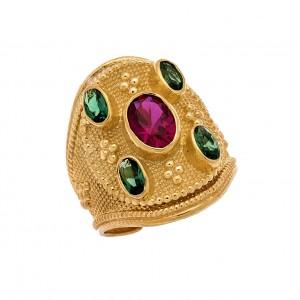 Δαχτυλίδι από Ασήμι 925° Επιχρυσωμένο με Ζιργκόν Πράσινα, Ρουμπινί