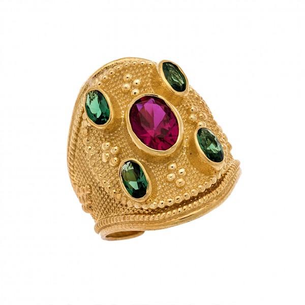Δαχτυλίδι από Ασήμι 925° Επιχρυσωμένο με Ζιργκόν Πράσινα, Ρουμπινί Ασημένια Δαχτυλίδια