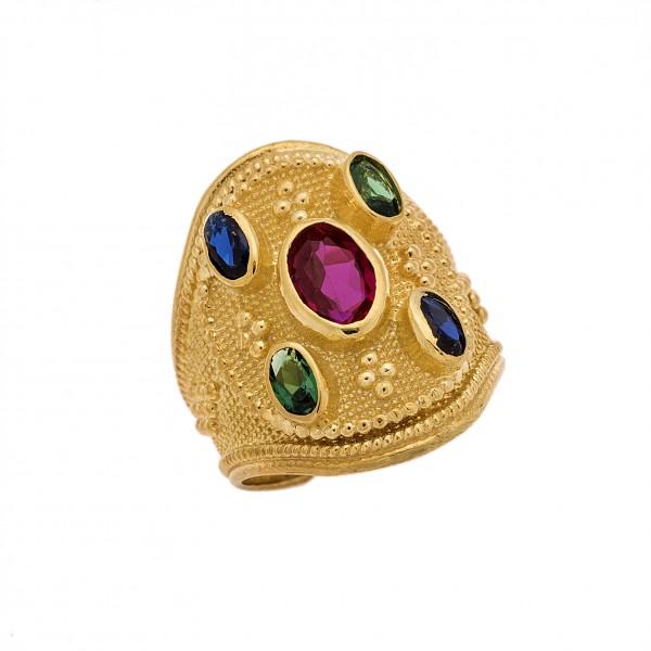 Δαχτυλίδι από Ασήμι 925° Επιχρυσωμένο με Ζιργκόν Μπλε, Ρουμπινί, Πράσινα Ασημένια Δαχτυλίδια