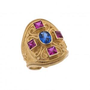 Δαχτυλίδι από Ασήμι 925° Επιχρυσωμένο με Ζιργκόν Μπλε, Ρουμπινί