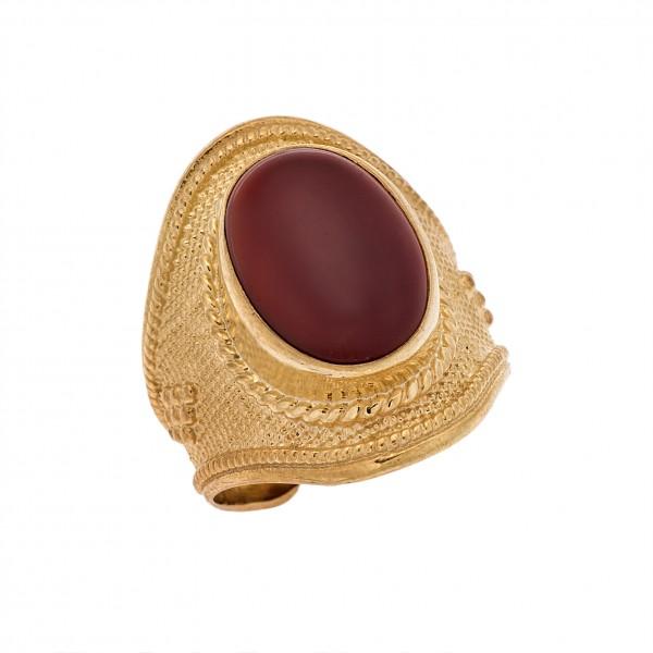 Δαχτυλίδι από Ασήμι 925° Επιχρυσωμένο - Πέτρα Κορνεόλη / Αχάτης  Ασημένια Δαχτυλίδια