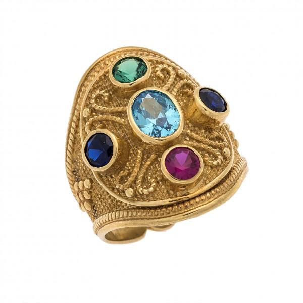 Δαχτυλίδι από Ασήμι 925° Επιχρυσωμένο με Ζιργκόν Μπλε, Ρουμπινί, Γαλάζιο, Πράσινο Ασημένια Δαχτυλίδια