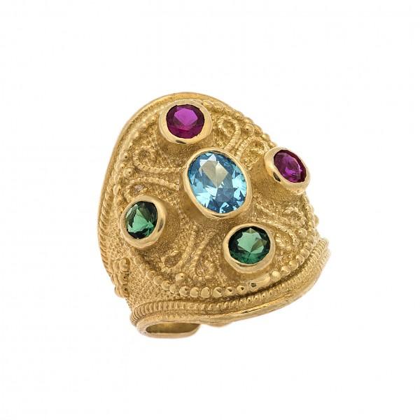 Δαχτυλίδι από Ασήμι 925° Επιχρυσωμένο με Ζιργκόν Ρουμπινί, Γαλάζιο, Πράσινο Cross Ασημένια Δαχτυλίδια