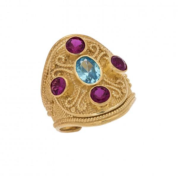 Δαχτυλίδι από Ασήμι 925° Επιχρυσωμένο με Ζιργκόν Ρουμπινί, Γαλάζιο Cross Ασημένια Δαχτυλίδια