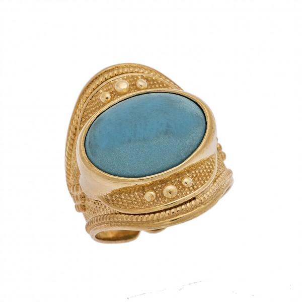 Δαχτυλίδι από Ασήμι 925° Επιχρυσωμένο με Συνθετική Τυρκουάζ Πέτρα  Ασημένια Δαχτυλίδια