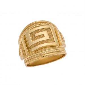 Δαχτυλίδι από Ασήμι 925° Μαίανδρος Επιχρυσωμένο