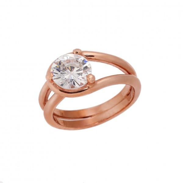 Δαχτυλίδι από Ασήμι 925° Επιχρυσωμένo Ροζ με Ζιργκόν Λευκό Ασημένια Δαχτυλίδια