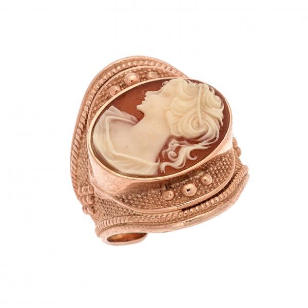 Δαχτυλίδι από Ασήμι 925° Επιχρυσωμένο Ροζ Καμέο Ασημένια Δαχτυλίδια