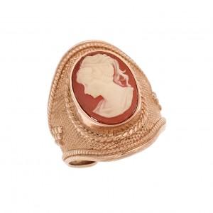Δαχτυλίδι από Ασήμι 925° Επιχρυσωμένο Ροζ Καμέο Vertical