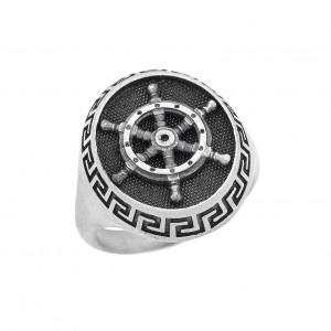 Δαχτυλίδι από Ασήμι 925° Μαίανδρος -Πηδάλιο