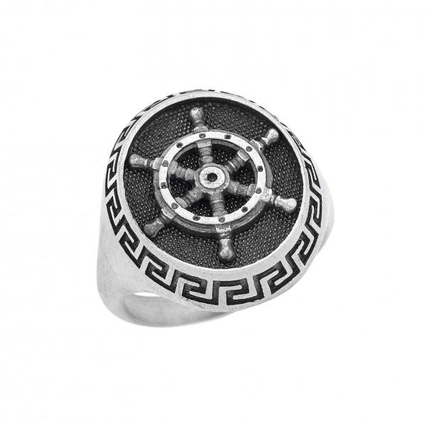 Δαχτυλίδι από Ασήμι 925° Μαίανδρος -Πηδάλιο  Ασημένια Δαχτυλίδια
