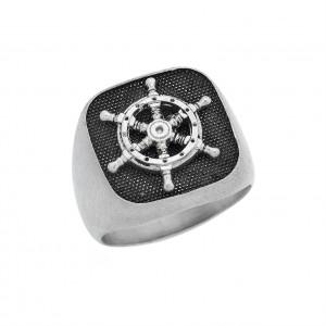 Δαχτυλίδι από Ασήμι 925°  Πηδάλιο