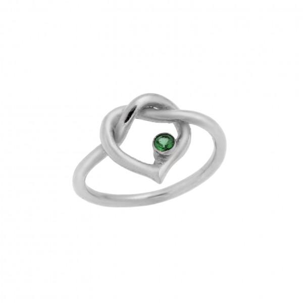 Δαχτυλίδι από Ασήμι 925° Καρδιά Επιπλατινωμένη με Ζιργκόν Πράσινο Ασημένια Δαχτυλίδια
