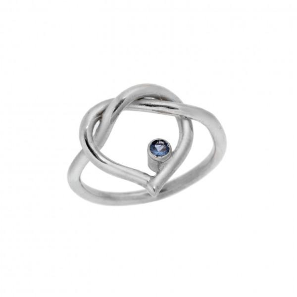 Δαχτυλίδι από Ασήμι 925° Καρδιά Επιπλατινωμένη με Ζιργκόν Μπλε Ασημένια Δαχτυλίδια