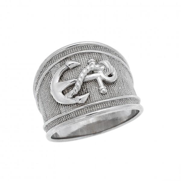 Δαχτυλίδι από Ασήμι 925°  Άγκυρα Επιπλατίνωμα  Ασημένια Δαχτυλίδια