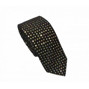 Αποκριάτικη Γραβάτα Μαύρη με Χρυσό Πουά 7.5εκ.
