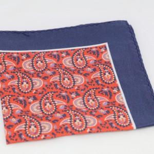 Μεταξωτό μαντήλι τσέπης Bronze Orange Paisley