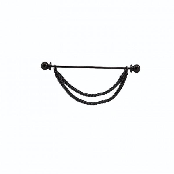 Ασημί Μαύρη Οξείδωση Καρφίτσα Πουκαμίσου με Διπλή Αλυσίδα Round Καρφίτσες / Συνδετήρες Γιακά