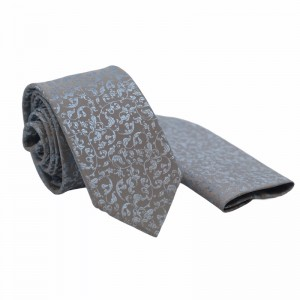 Set Γραβάτα & Μαντήλι Ασημί Light Blue  6εκ.