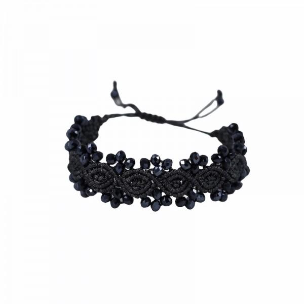 Lava - Ανθρακί βραχιόλι macrame Makou Macrame Κοσμήματα