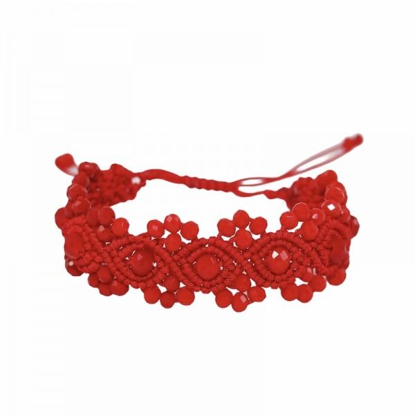 Passion - Κόκκινο βραχιόλι macrame Makou Macrame Κοσμήματα