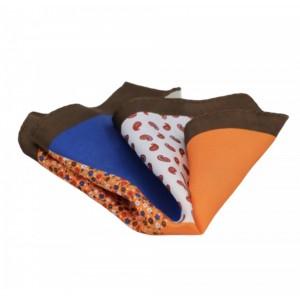 Μεταξωτό μαντήλι τσέπης 4 σε 1 καφέ, πορτοκαλί, μπλε
