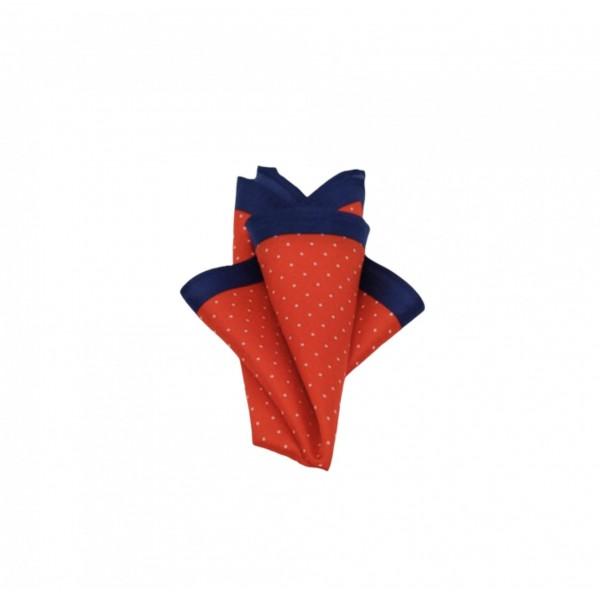 Μεταξωτό μαντήλι τσέπης κόκκινο, μπλε με άσπρα πουά Μαντήλια Τσέπης Γραβάτες - erika.gr