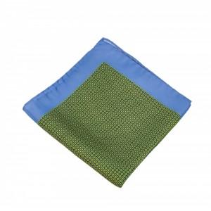 Μεταξωτό μαντήλι τσέπης Olive Green Color Blue Frame