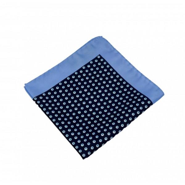 Μεταξωτό μαντήλι τσέπης Navy Color Aqua Polka Dots