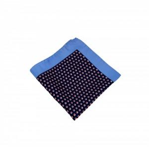 Μεταξωτό μαντήλι τσέπης Navy Color Red Polka Dots