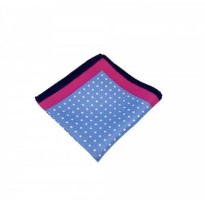 Μεταξωτό μαντήλι τσέπης Blue Polka Dots Pink Frame