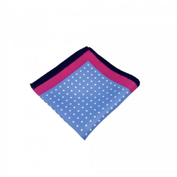 Μεταξωτό μαντήλι τσέπης Polka Dots Blue Pink Frame