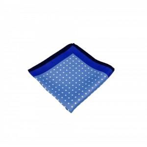 Μεταξωτό μαντήλι τσέπης Blue Polka Dots Electric Blue Frame