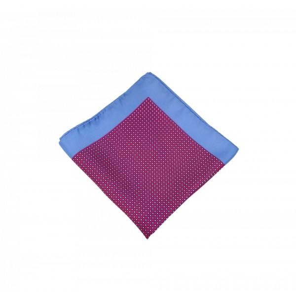 Μεταξωτό μαντήλι τσέπης Fuchsia Color Blue Frame