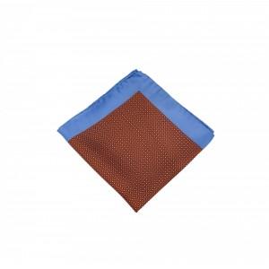 Μεταξωτό μαντήλι τσέπης Rust Color Blue Frame