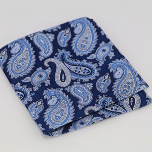 Μεταξωτό μαντήλι τσέπης Blue Paisley