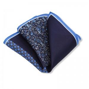 Μεταξωτό μαντήλι τσέπης μπλε 4 σε 1