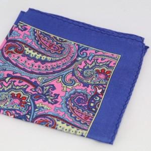 Μεταξωτό μαντήλι τσέπης Blue & Shades of Pink Paisley